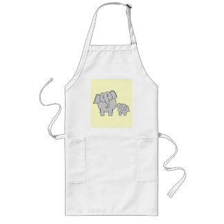 Two Elephants. Cute Adult and Baby Cartoon. Long Apron