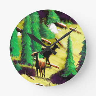 Two Elk In The Sunlight Round Clock