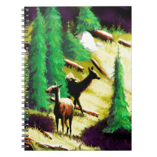 Two Elk In The Sunlight Spiral Notebook