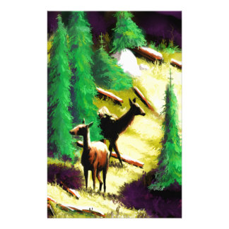 Two Elk In The Sunlight Stationery