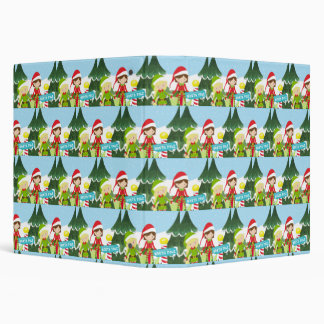Two Elves at the North Pole 3 Ring Binder