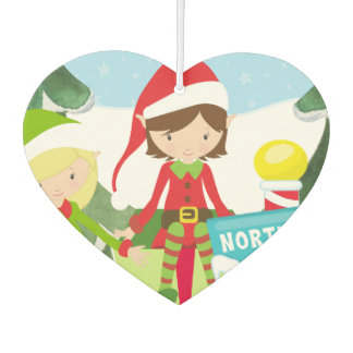 Two Elves at the North Pole Car Air Freshener
