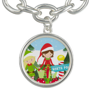 Two Elves at the North Pole Charm Bracelets
