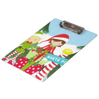 Two Elves at the North Pole Clipboard