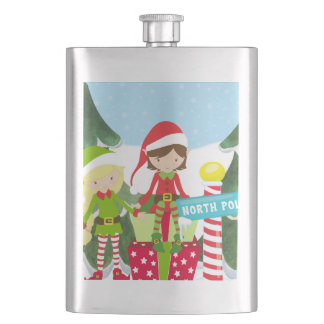 Two Elves at the North Pole Hip Flask