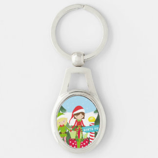 Two Elves at the North Pole Keychain