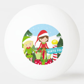 Two Elves at the North Pole Ping Pong Ball