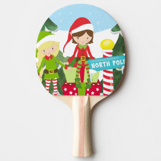 Two Elves at the North Pole Ping Pong Paddle