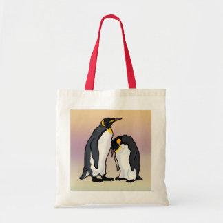 two emperor penguins tote bag