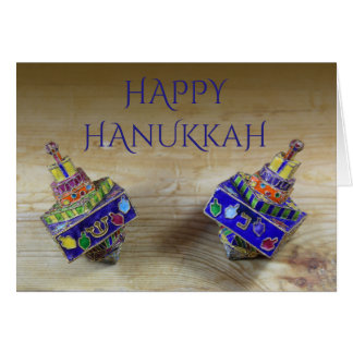 Two enameled dreidels Hanukkah card