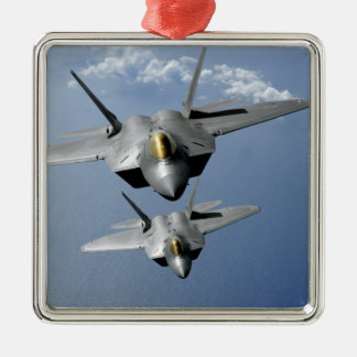 Two F-22 Raptors fly over the Pacific Ocean Silver-Colored Square Ornament