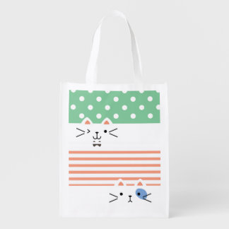 Two Faced Kitty Reusable Grocery Bag
