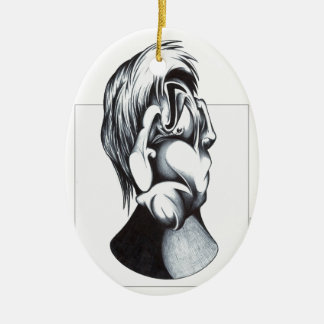 Two Faces of Grief Ceramic Oval Ornament