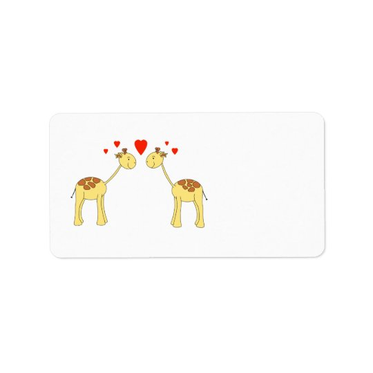 Two Facing Giraffes with Hearts. Cartoon. Label