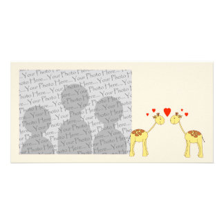 Two Facing Giraffes with Hearts. Cartoon. Photo Greeting Card