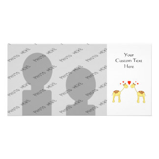 Two Facing Giraffes with Hearts Cartoon Personalized Photo Card
