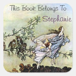 Two Fairies Bookplate Square Sticker