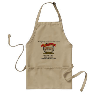 Two Fat Guys BBQ Sauce apron with logo.