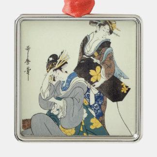 Two Female Figures Silver-Colored Square Ornament