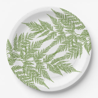 Two Fern Fronds Silhouette Paper Plate