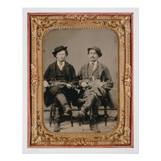 Two fiddlers, seated with instruments (40050) poster