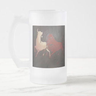 Two Fighting Bulls Frosted Glass Beer Mug