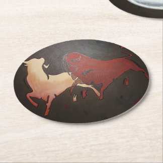 Two Fighting Bulls Round Paper Coaster
