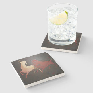 Two Fighting Bulls Stone Coaster