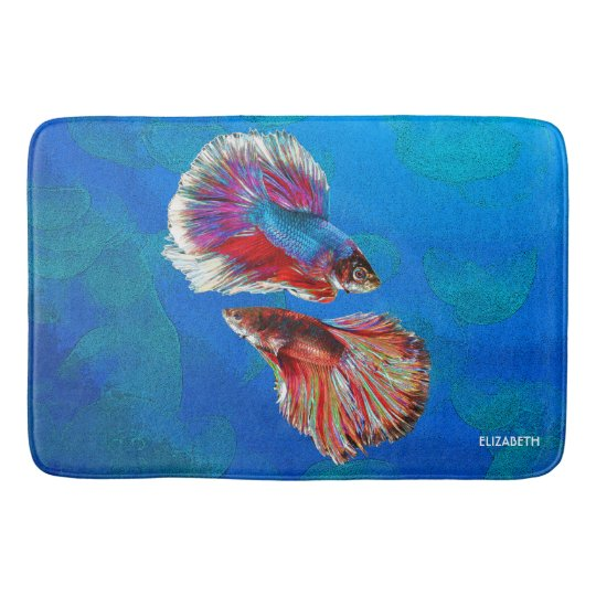 Two Fighting Psychedelic Colourful Fish Bath Mat