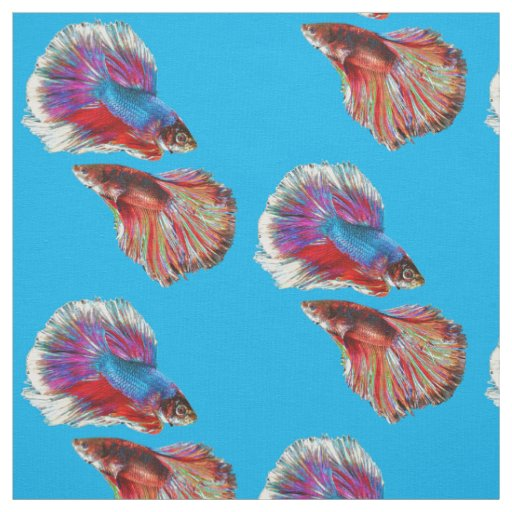 Two Fighting Psychedelic Colourful Fish Fabric