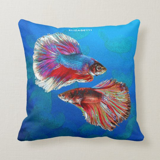 Two Fighting Psychedelic Colourful Fish Throw Pillow