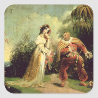 Two figures in Turkish costume in an Eastern lands Square Stickers