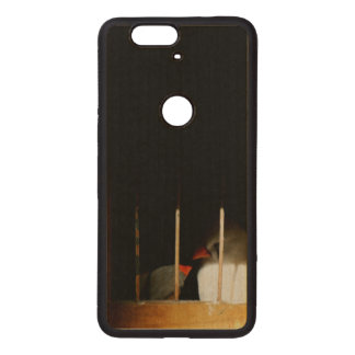 Two Finch Birds behind Bars Wood Nexus 6P Case
