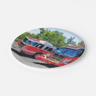 Two Fire Engines in Front of Firehouse 7 Inch Paper Plate