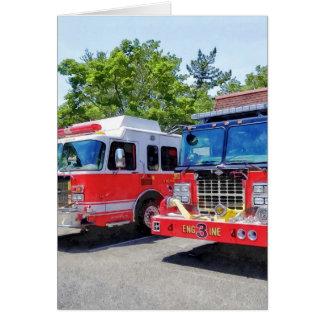 Two Fire Engines in Front of Firehouse Card