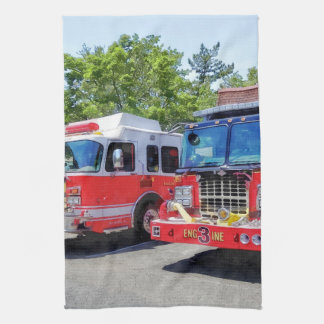 Two Fire Engines in Front of Firehouse Hand Towels