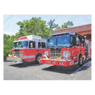 Two Fire Engines in Front of Firehouse Tablecloth