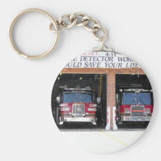 two fire engines photo basic round button keychain