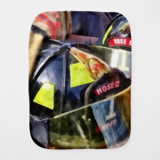 Two Fire Helmets And Fireman's Jacket Burp Cloth