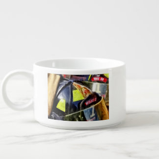 Two Fire Helmets And Fireman's Jacket Chili Bowl