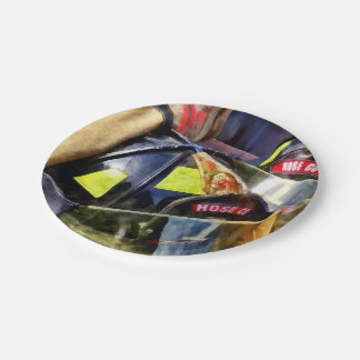 Two Fire Helmets And Fireman's Jacket Paper Plate