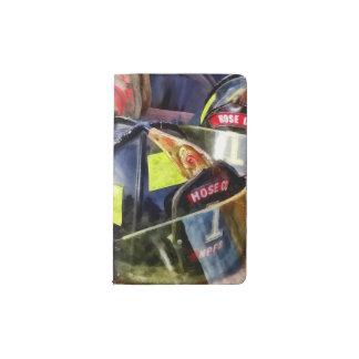 Two Fire Helmets And Fireman's Jacket Pocket Moleskine Notebook