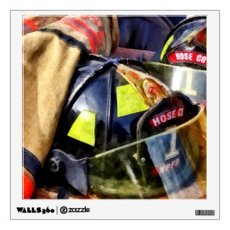 Two Fire Helmets And Fireman's Jacket Wall Sticker