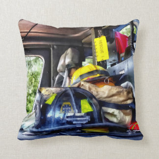 Two Firefighter's Helmets Inside Fire Truck Throw Pillow