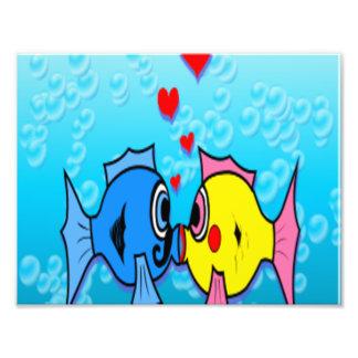 Two Fish Kissing Underwater Scene Photo