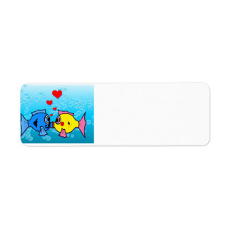 Two Fish Kissing, Underwater Scene Return Address Label