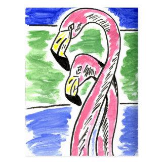 Two Flamingos Postcard