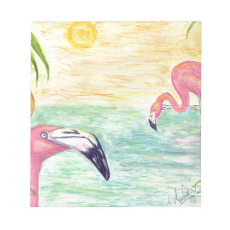 Two Florida Flamingos Watercolor Art Notepad