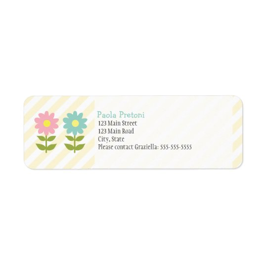 Two Flowers Return Address Label