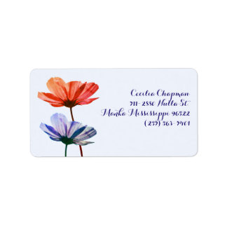 Two flowers with custom text in red and blue tons label